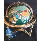 Collectable Agate and Brass 12 inch Globe Green Base Colour