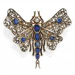SAPPHIRE-DIAMOND-BROOCH. Date: 1900s. Material: Silver, 750/- yellow gold-plated, tested. Total