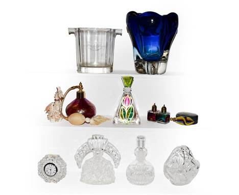 A tray of assorted glass ware including, Whitefriars kingfisher blue vase, Moet & Chandon wine glass cooler, iridescent p