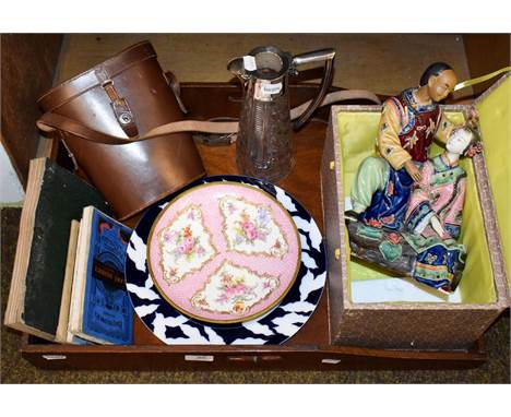 An oak butlers tray, a silver mounted cut glass claret jug (a.f.), a cased pair of Ross binoculars, folding maps including Ba