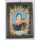 Hinterglasbild / Hinterglasmalerei, heilige Johanna (S. Johana), mit Holzrahmen, 24,5x18cm