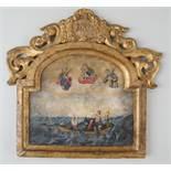 Barocke Votivtafel, in Seenot, auf Holz, datiert 1782, 34x35cm