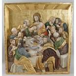 Das letzte Abendmahl, prunkvoll und fein in Holz geschnitztes Relief, üppig bemalt undvergoldet,