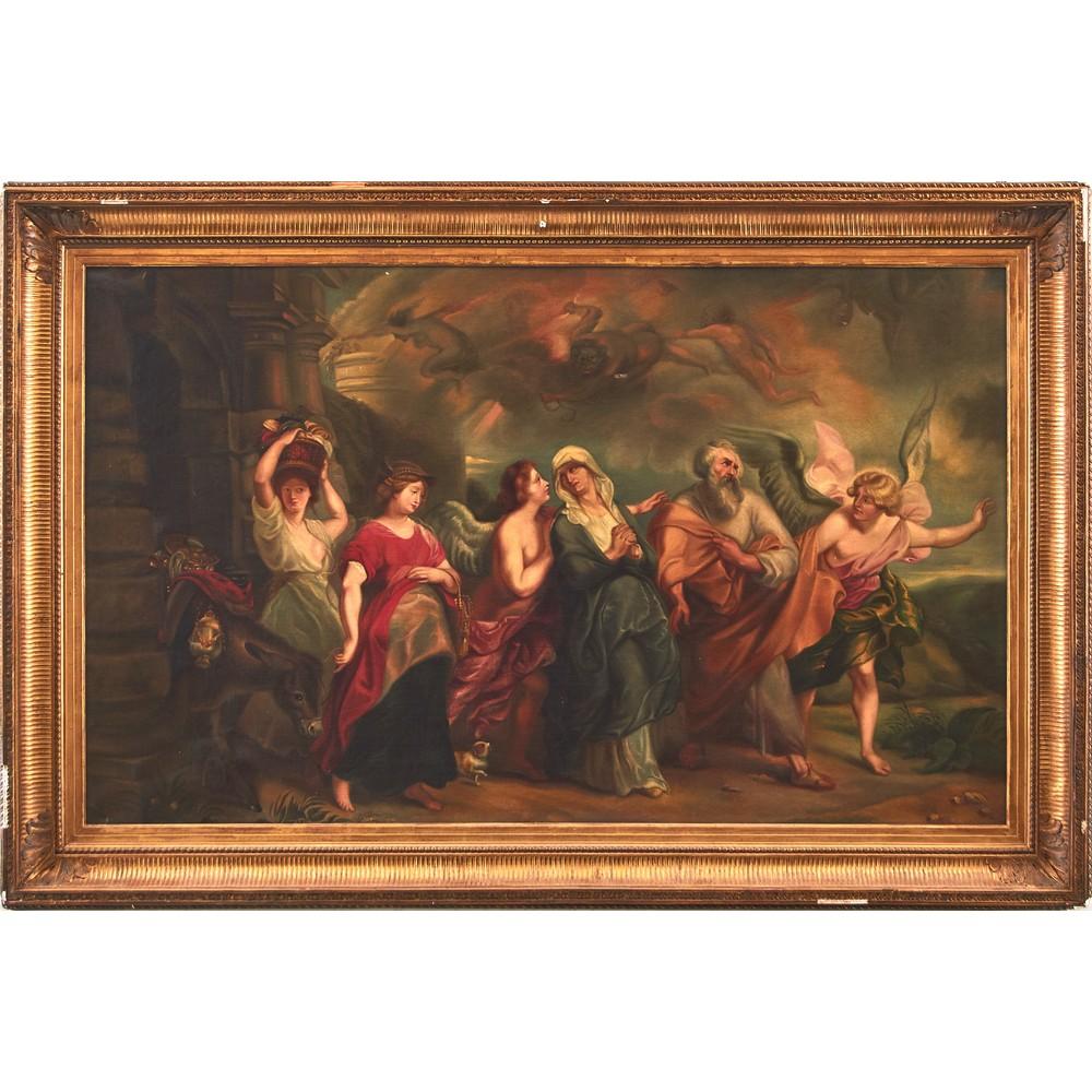 """PITTORE DEL XIX SECOLO OLIO su tela """"Lot in fuga da Sodoma e Gomorra (copia dell'opera di Pieter"""