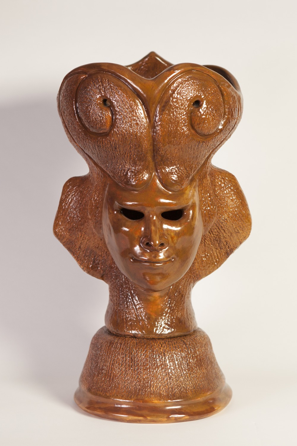 Lot 145 - GOLDA ROSE (1921 - 2016) BROWN GLAZED CLAY SCULPTURE 'Aries/Ram Pot', double sided male and female