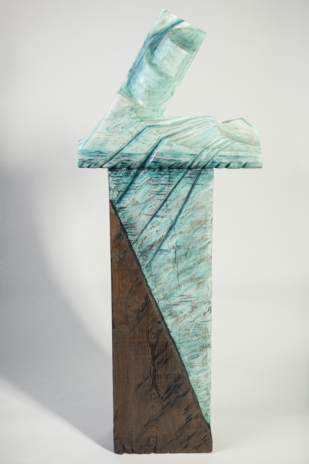 Lot 93 - GLENYS LATHAM RECLAIMED PITCH PINE SCULPTURE WITH ACRYLIC PAINT 'Nanortalik Ice Mountain' Signed