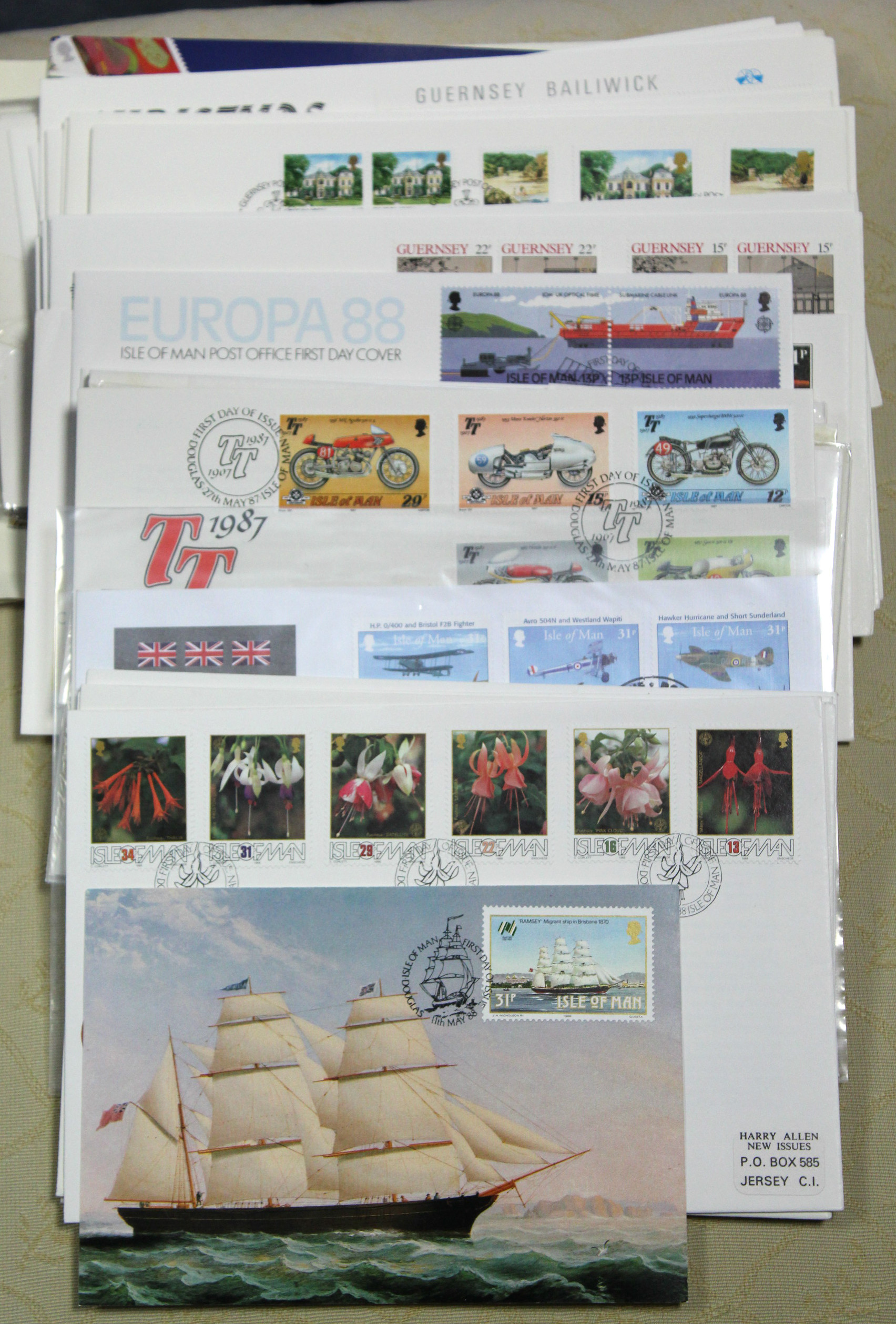 Lot 277 - Seventeen Guernsey First Day covers, 1980's; & twenty two Isle of Man ditto.