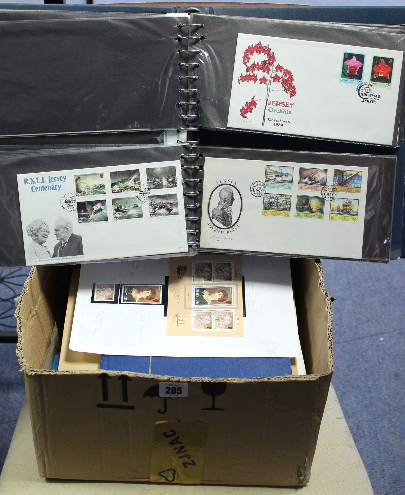 Lot 285 - A collection of Jersey mint stamps, First Day covers, etc., in three albums & loose.