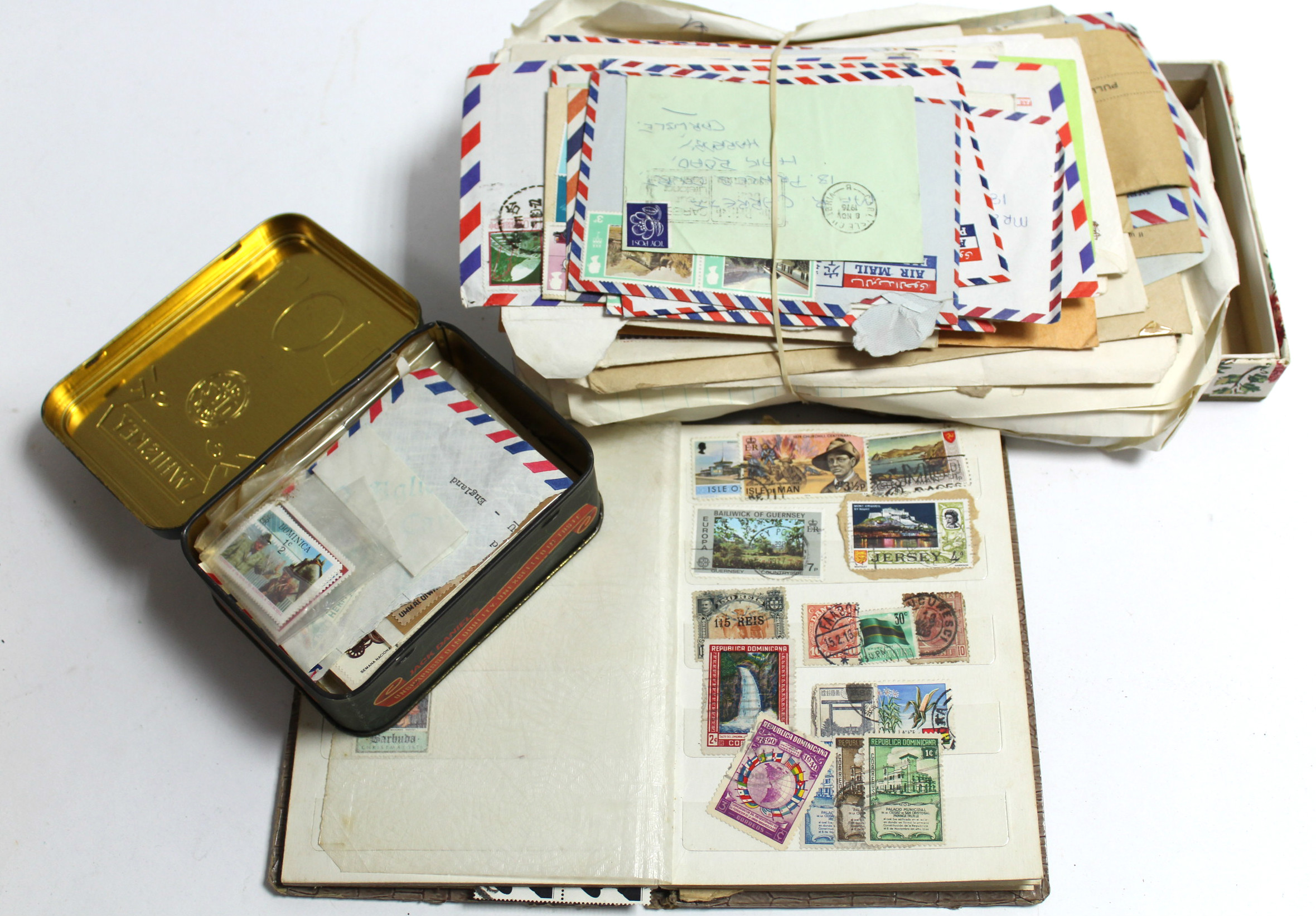Lot 283 - A small collection of mostly foreign stamps in a stock booklet & loose, & various mostly G. B.
