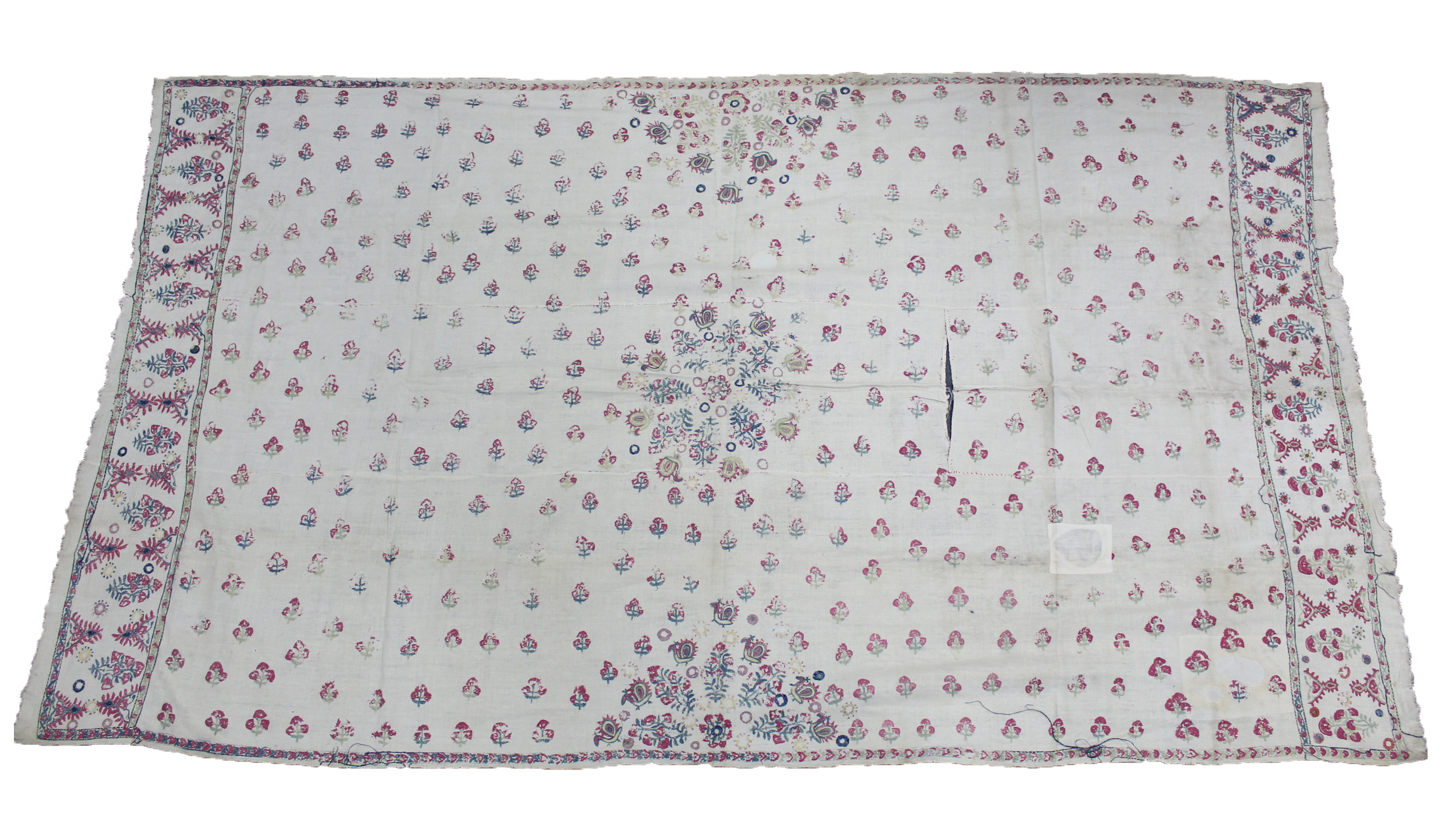 Lot 178 - A crimson bedcover; six various blankets, etc.