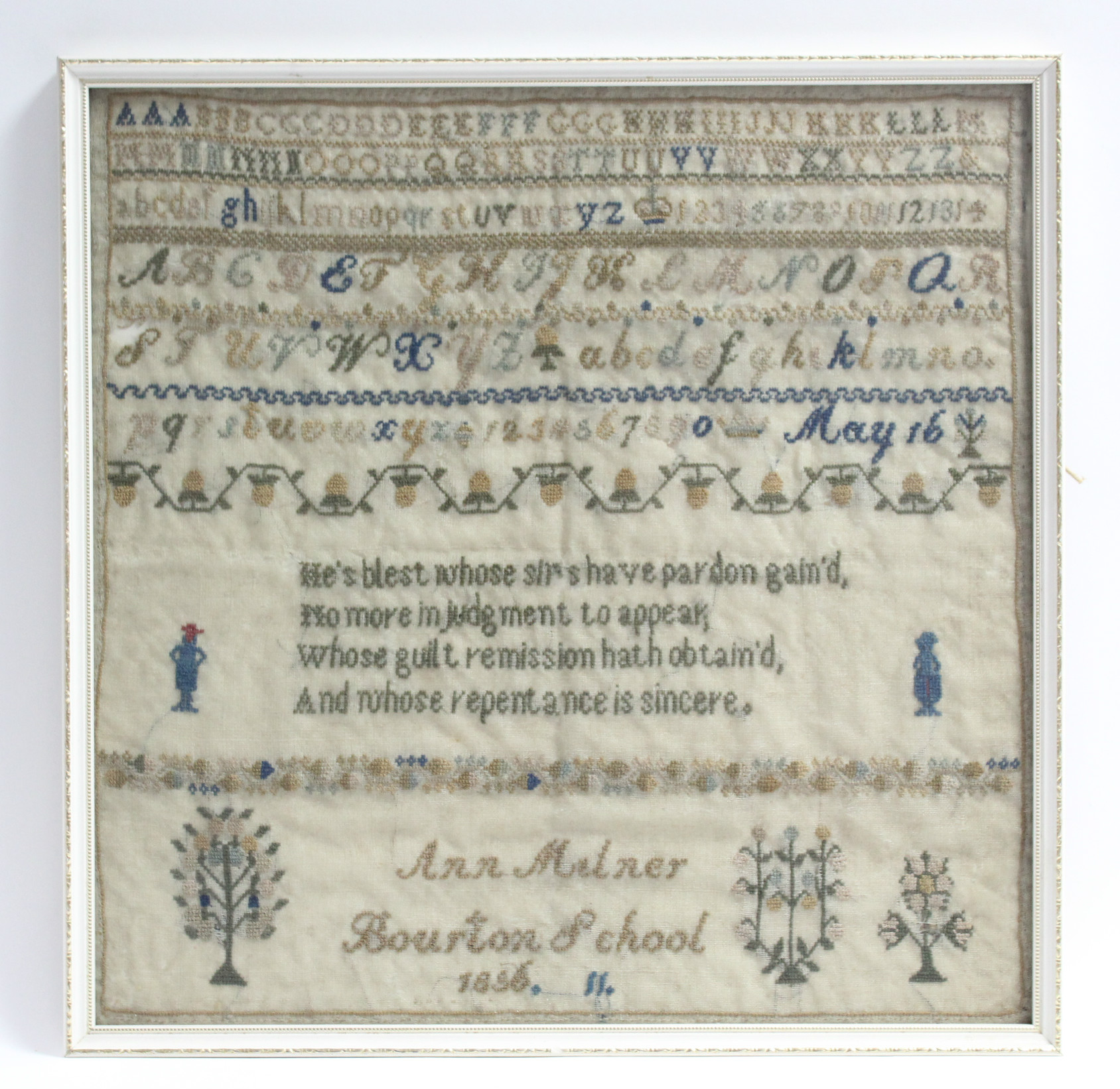 Lot 175 - A mid-19th century needlework sampler with alphabet & numbers to the top, verse to centre &