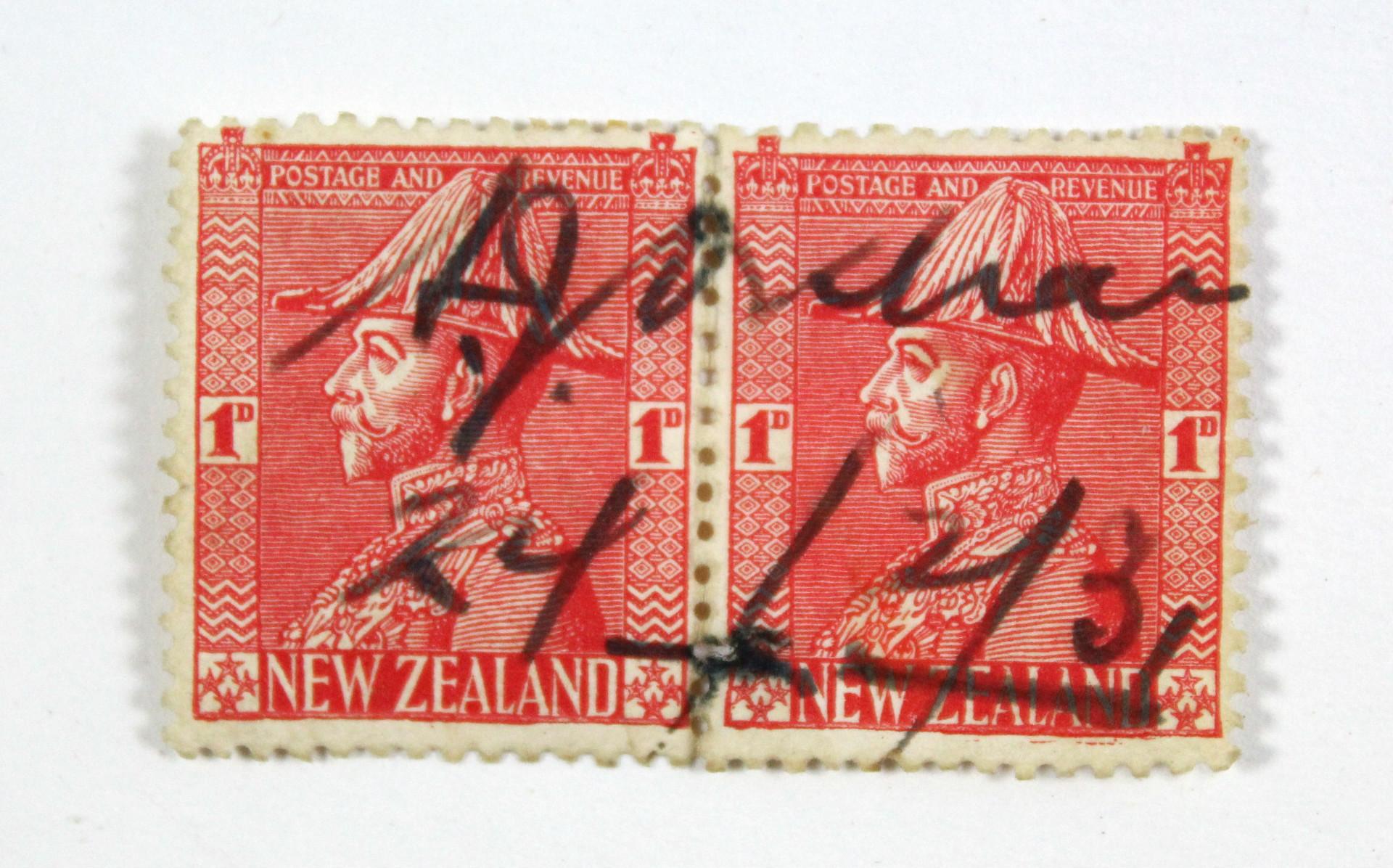 "Lot 102C - AMY JOHNSON, (English Aviator, 1903-1941), autograph signature across a pair of New Zealand """