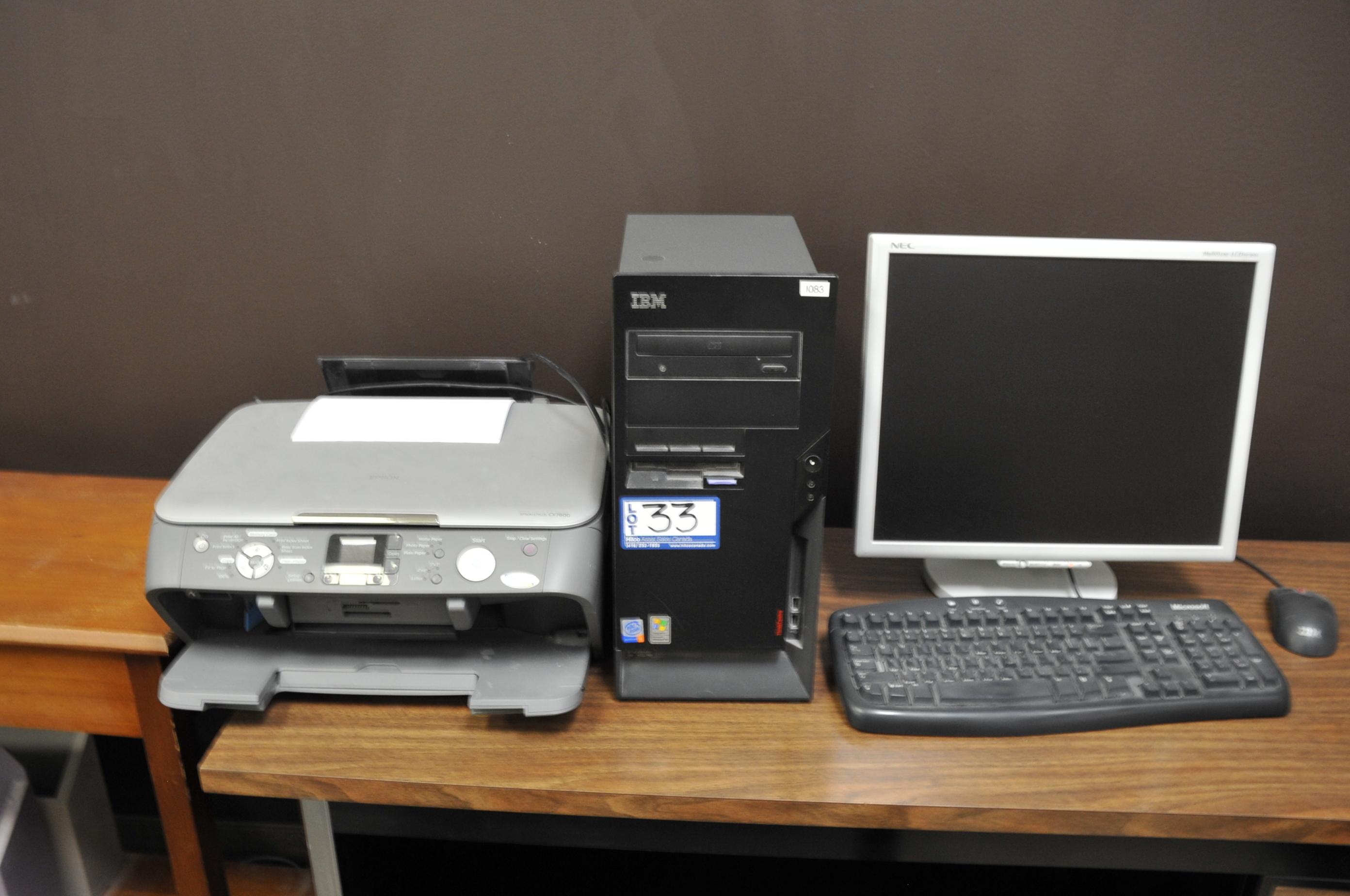 IBM Model P4 Computer; with LCD Monitor, Printer