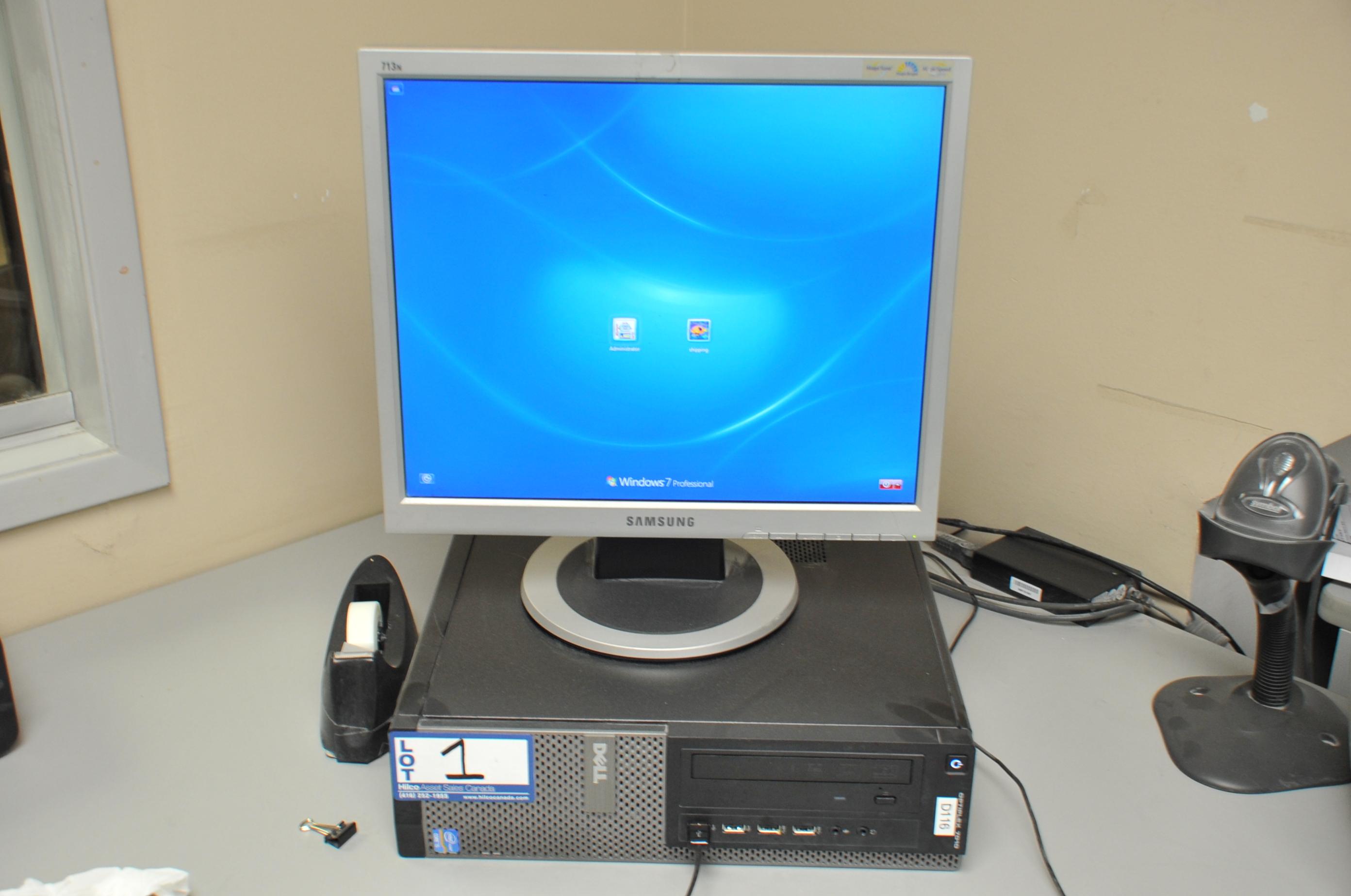 "Dell Model Optiplex 7010 Core I5 Computer; with Samsung 13"" Monitor - Image 2 of 2"