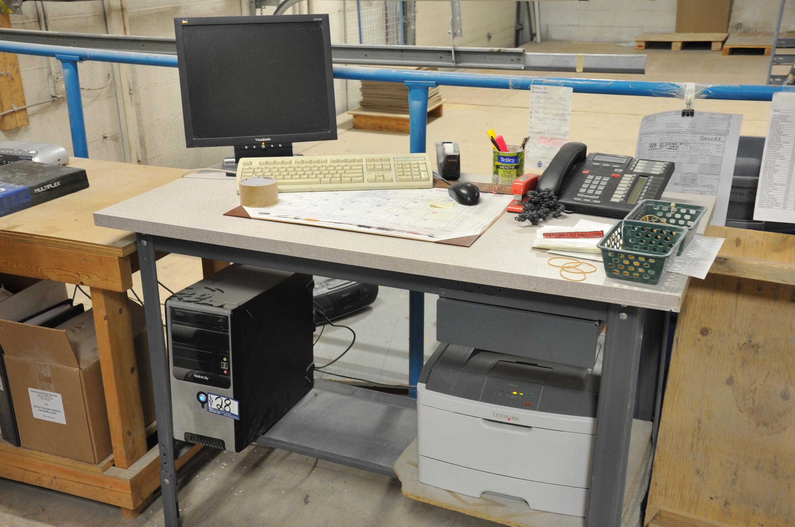 Lot of Velocity Model Core 2 Duo Computer; with LCD Monitor, Lexmark E260DN Printer