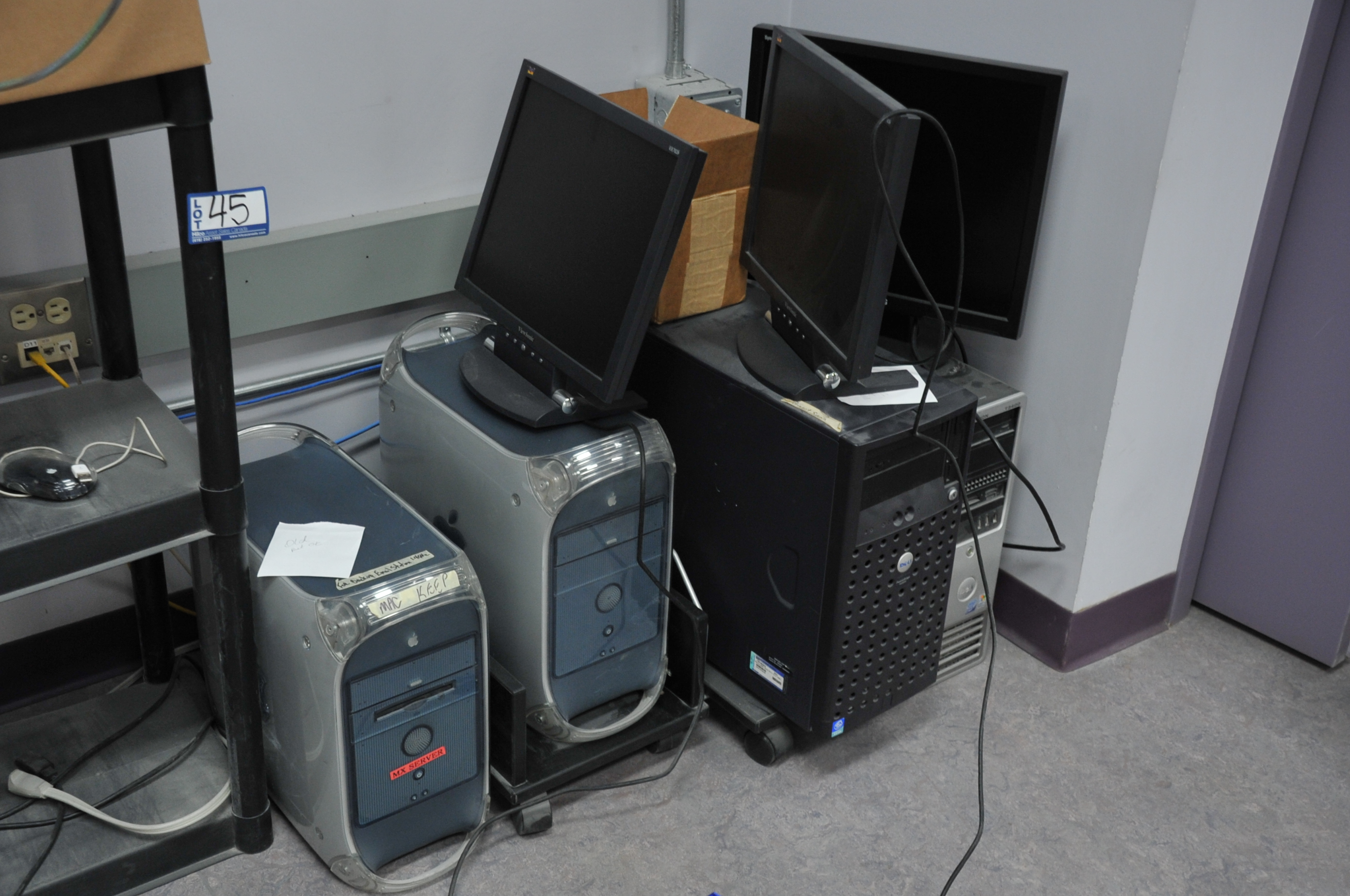 Lot of Asst. G4 MAC, PC's, Dell Zeon Server, Key Boards, Cables