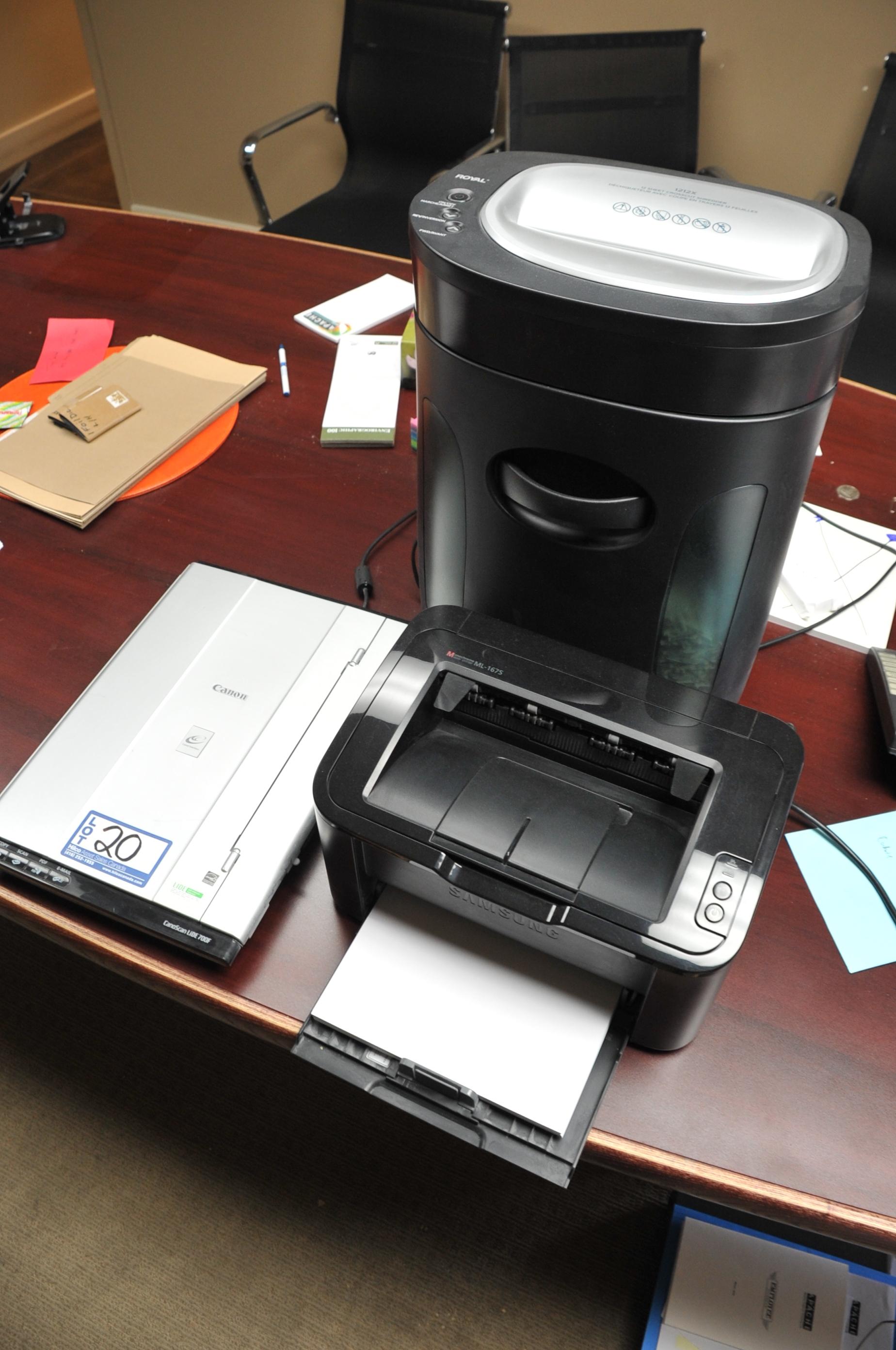 Lot of Samsung Model ML 1675 Laser  Printer; with Canon LIDE 700F Scanner, Paper Shredder