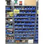 LOT OF ASSORTED SHOP HARDWARE ON SHELVING (SHELVING NOT INCLUDED)