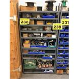 LOT OF ASSORTED SHOP HARDWARE ON SHELVING - (SHELVING NOT INCLUDED)