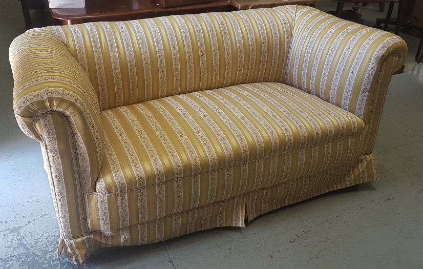 Lot 11 - Victorian Chesterfield on turned legs, yellow floral striped fabric (very well covered), 1.7m w x