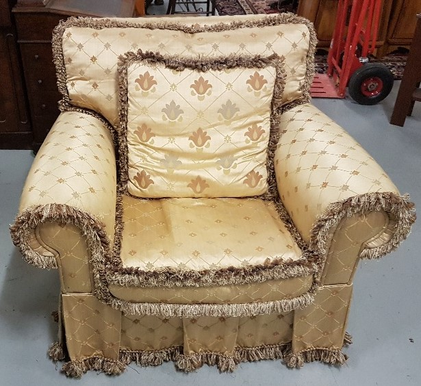 Lot 6 - Good Quality Large Armchair, with yellow ground silk floral pattern, plump cushions and removable