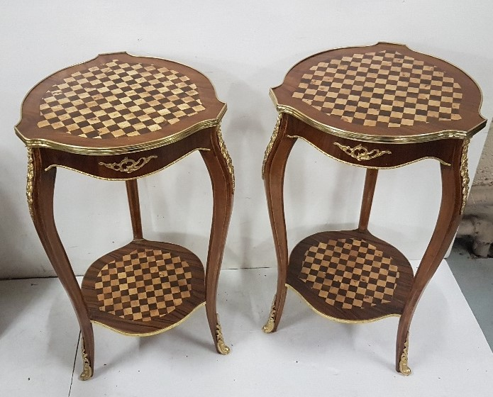 Lot 34 - Matching pair of Continental walnut Occasional Tables with chequered design top and stretcher
