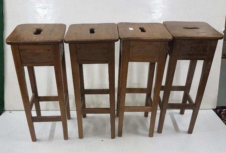 Lot 24 - Set of 4 Oak Tall Bar/Counter Stools, with carrying inserts (4)