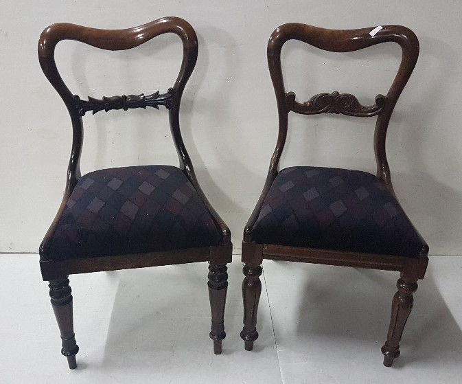 Lot 31 - 2 x Early Victorian rosewood Dining Chairs, with shaped top rails, carved mid rails and turned legs,