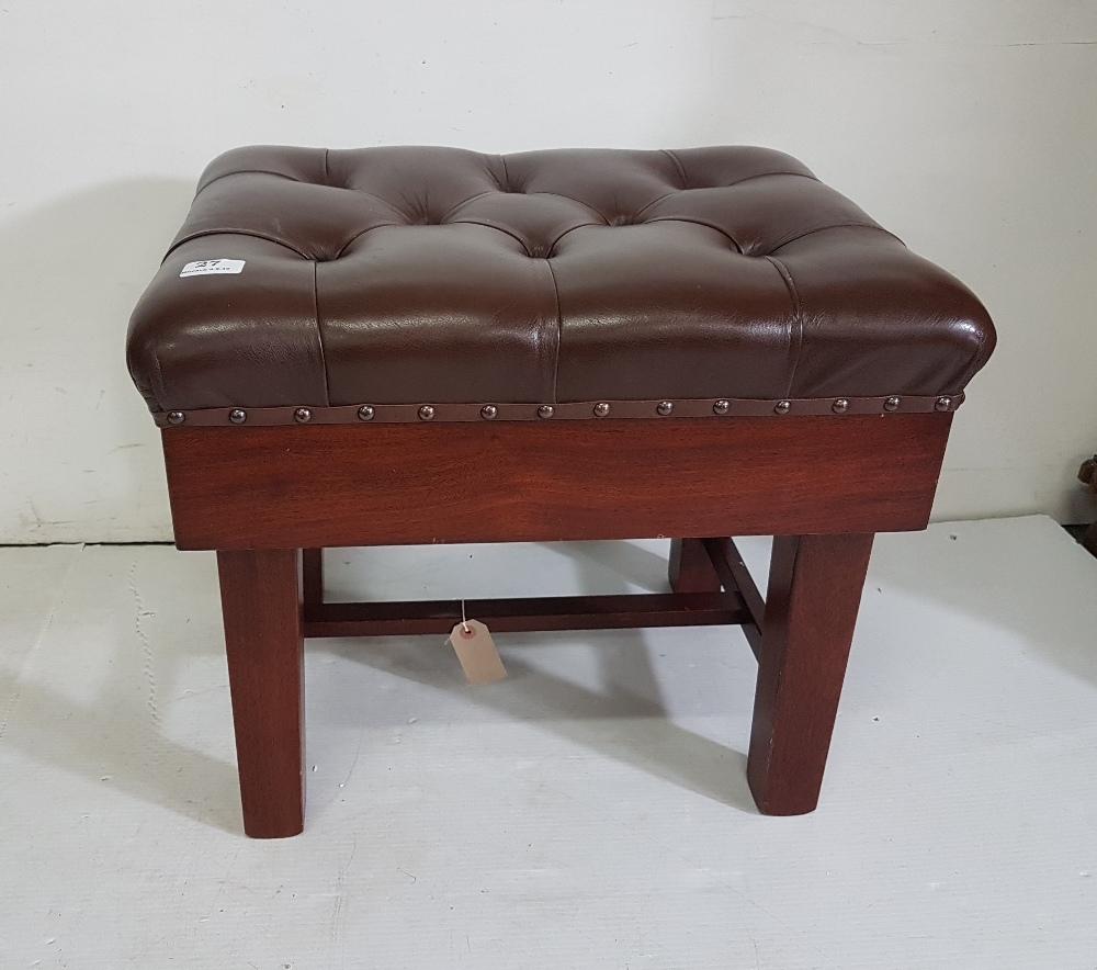 Lot 27 - Leather upholstered mahogany rectangular adjustable piano stool