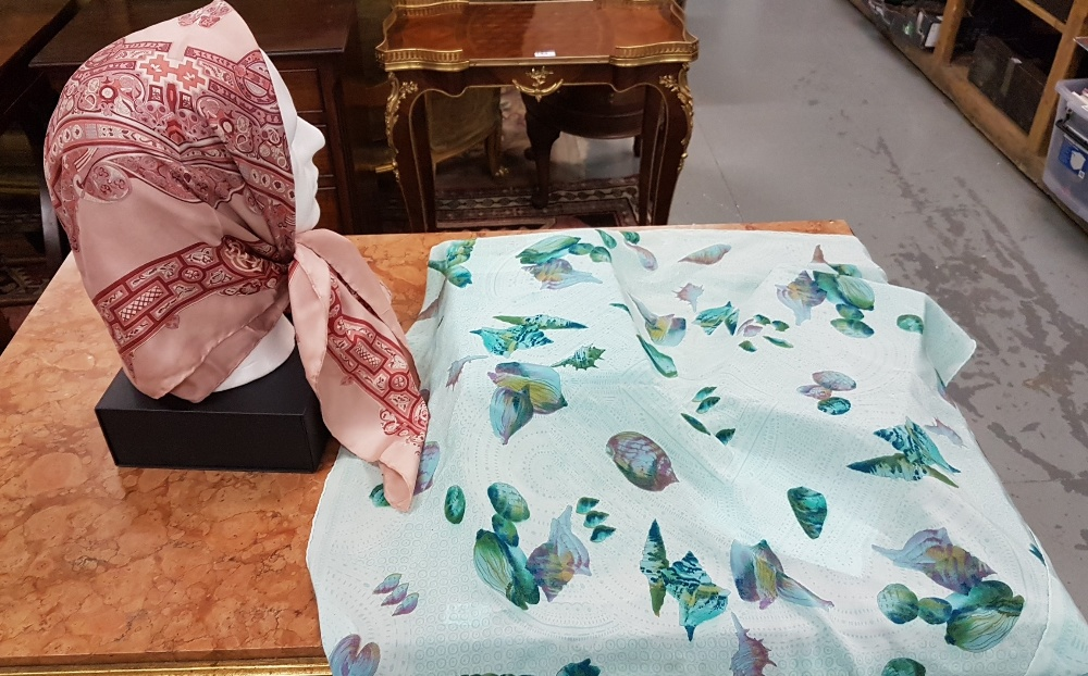 "Lot 3 - DAVID KENDRICK silk Scarf, pink, design ""inspired by The Book of Kells"" and Italian silk"