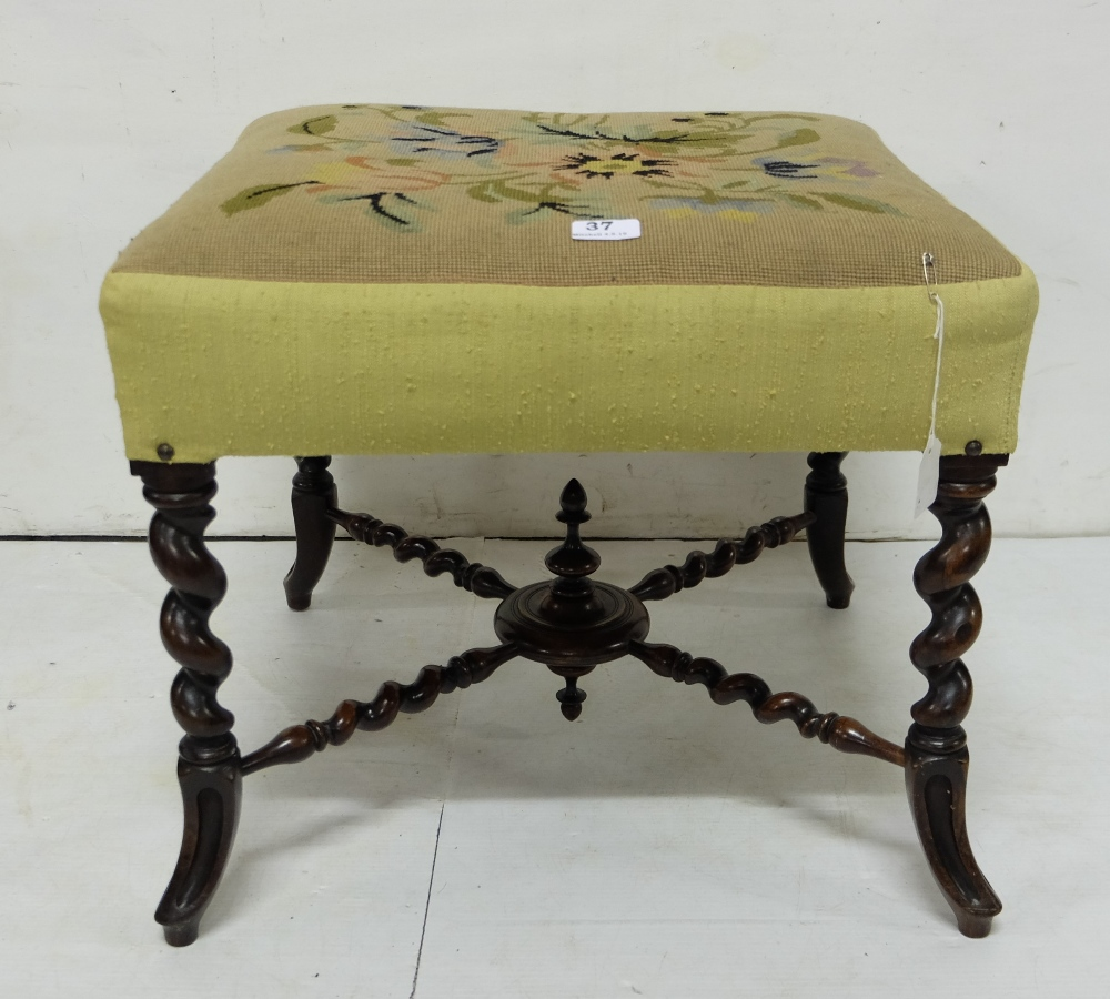 Lot 37 - Victorian mahogany square Footstool with Berlin woolwork seat raised on cabriole supports with