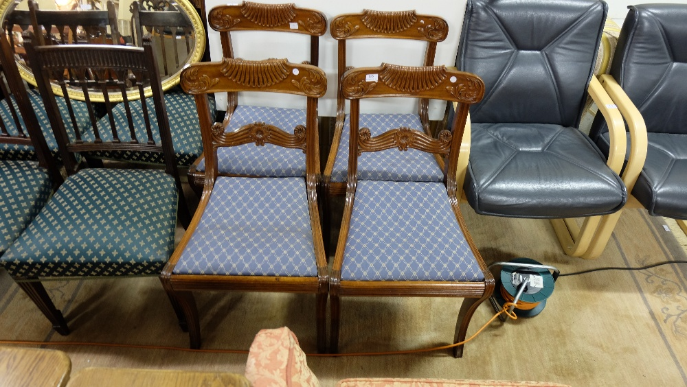 Lot 16 - 4 x Regency Dining Chairs with scrolled shaped top rails and scrolled slats, sabre lets, removable