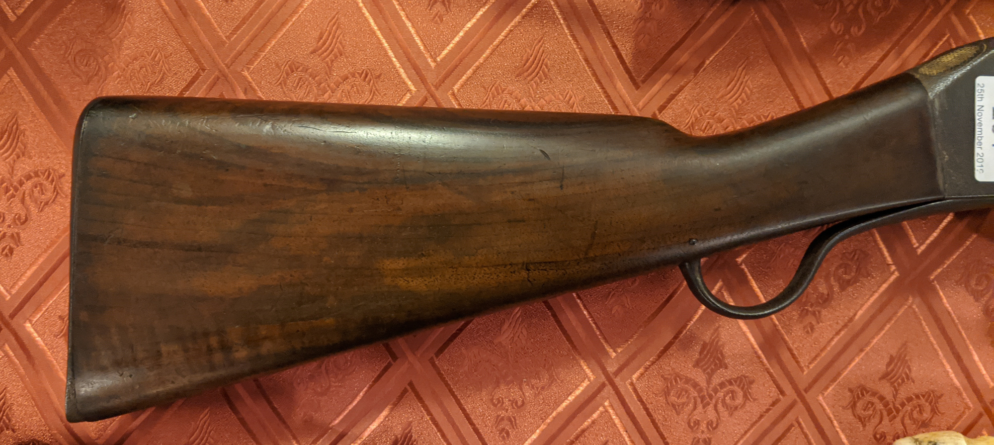 Lot 261 - A Martini Henry .577 rifle. With walnut fullstock, ramrod and adjustable ladder sights. Barrel 83cm.