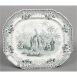 A John Ridgway meat plate. Printed in green with the Giraffe pattern. Depicting three giraffes in an
