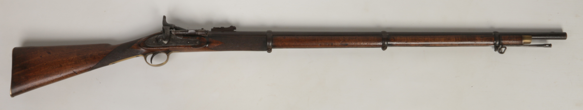 Lot 267 - A P53 Tower pattern three band percussion rifle with Schneider conversion .577. With walnut