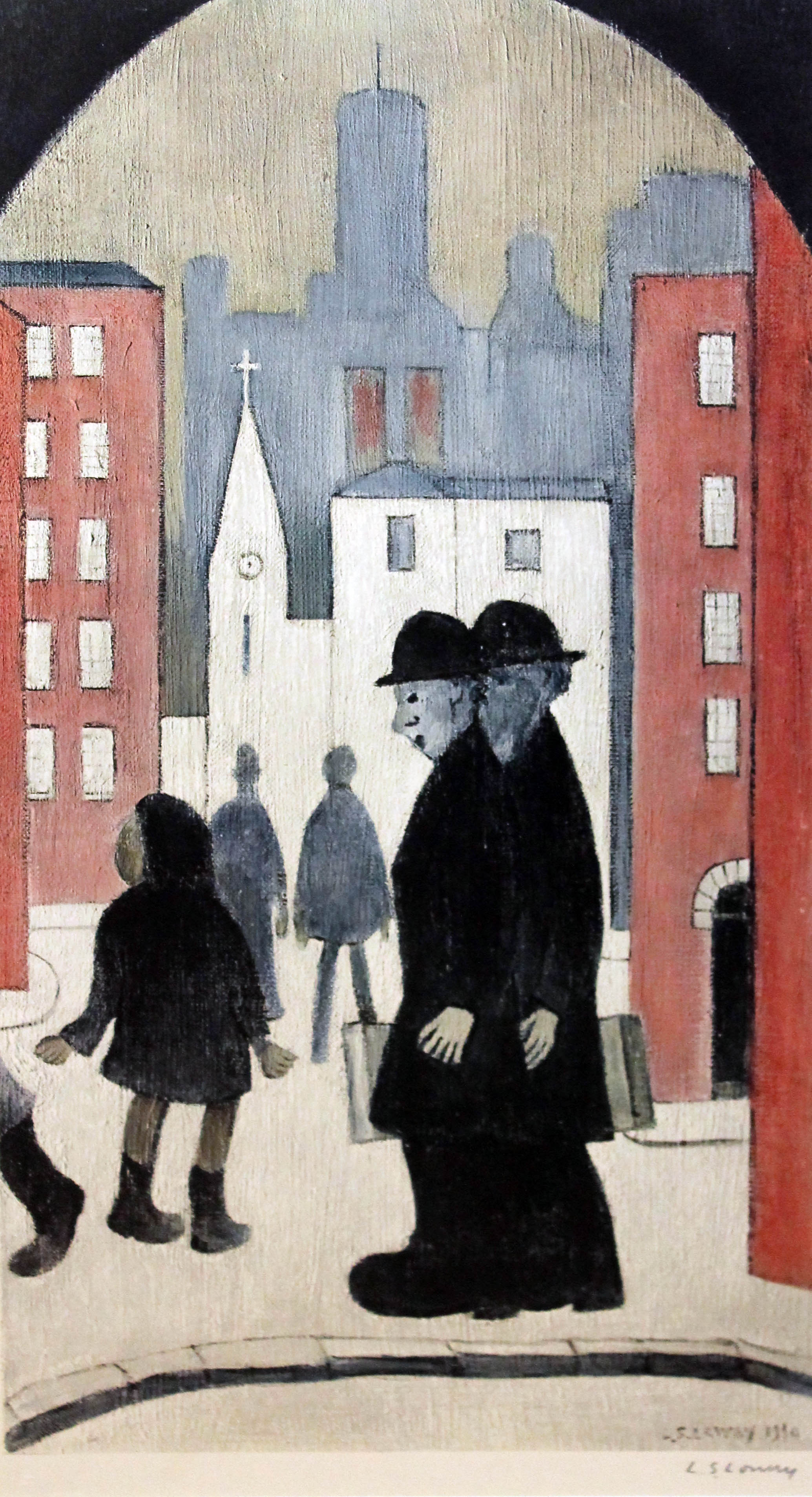 Lot 140 - Laurence Stephen Lowry, Two Brothers, colour print, 31cm x 63cm, FATG blindstamp lower left, signed