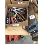 (LOT) MISC. HAND TOOLS- CLIPPERS, SAWS, SOCKET WRENCH AND SOCKETS, PLIERS