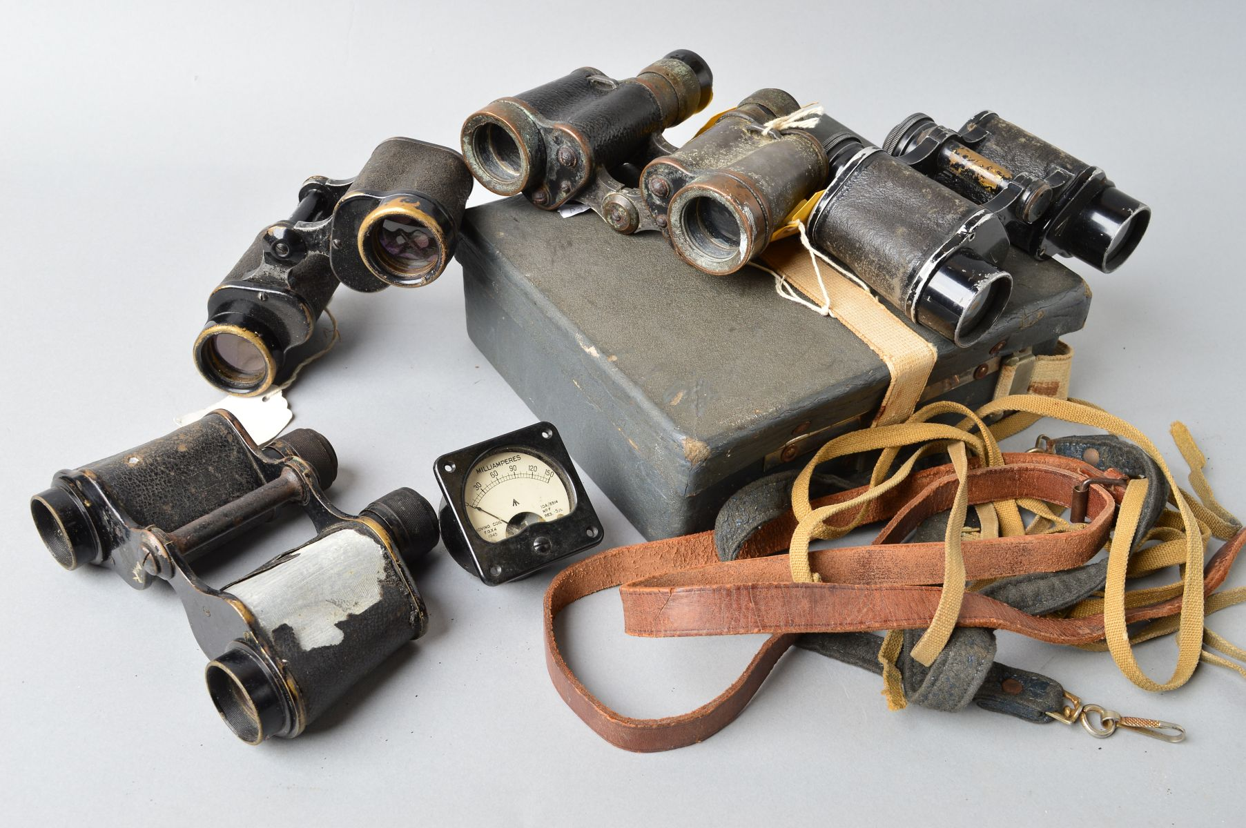 Lot 454 - A BOX CONTAINING FIVE PAIRS OF MILITARY ISSUE FIELD BINOCULARS, as follows, Taylor Hobson, 6 x 30