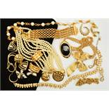 A SELECTION OF DESIGNER COSTUME JEWELLERY, to include an Attwood and Sawyer colourless paste and