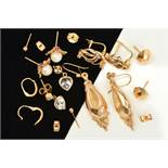 SEVEN PAIRS OF EARRINGS, to include a pair of drop earrings, a pair of heart shape colourless