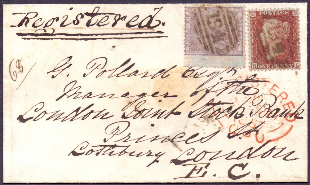 Lot 169 - GREAT BRITAIN STAMPS : 1856 small envelo