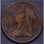 COINS : 1899 old head penny in good to f