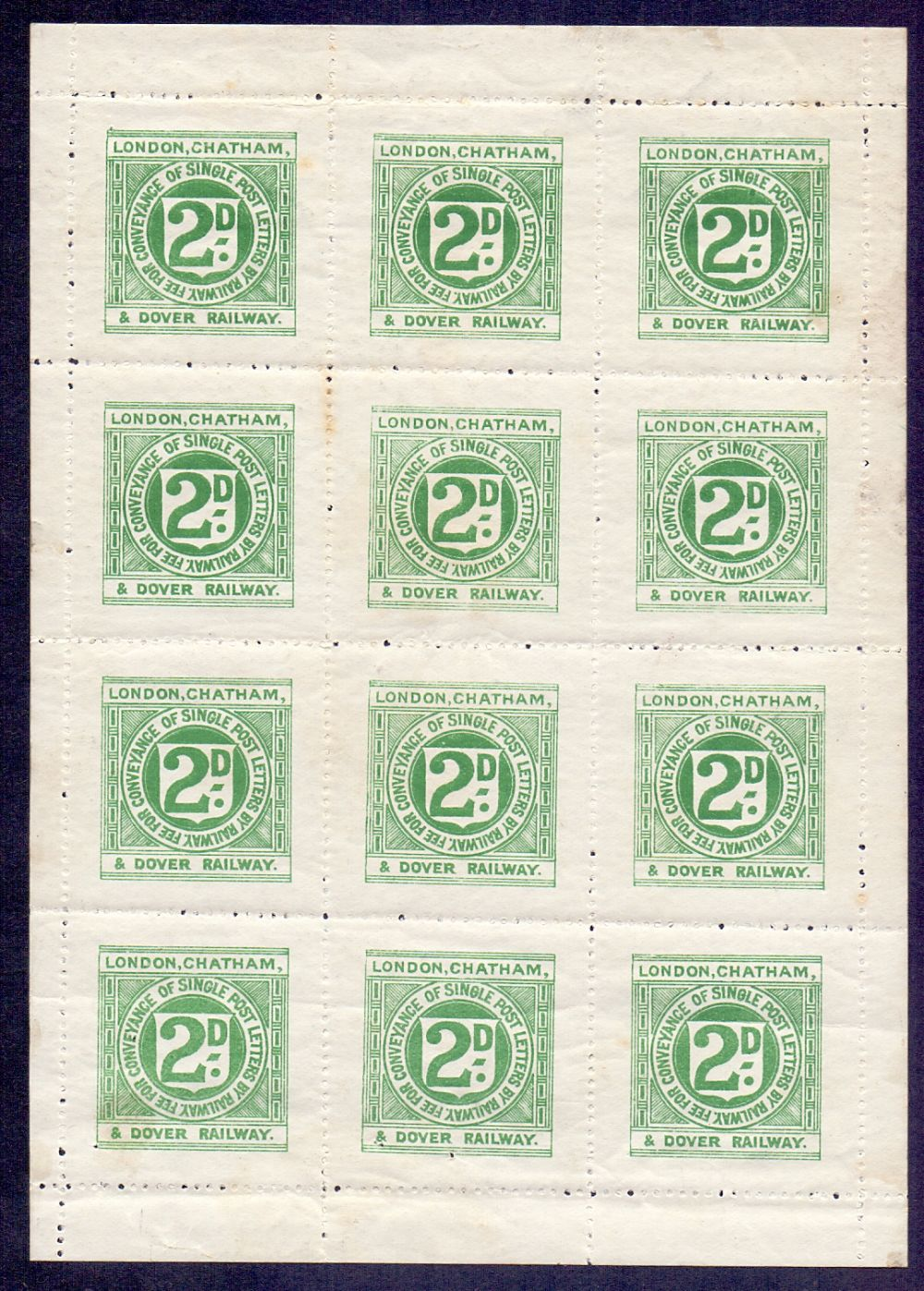 "Lot 54 - STAMPS RAILWAY, a complete sheet of ""Lon"
