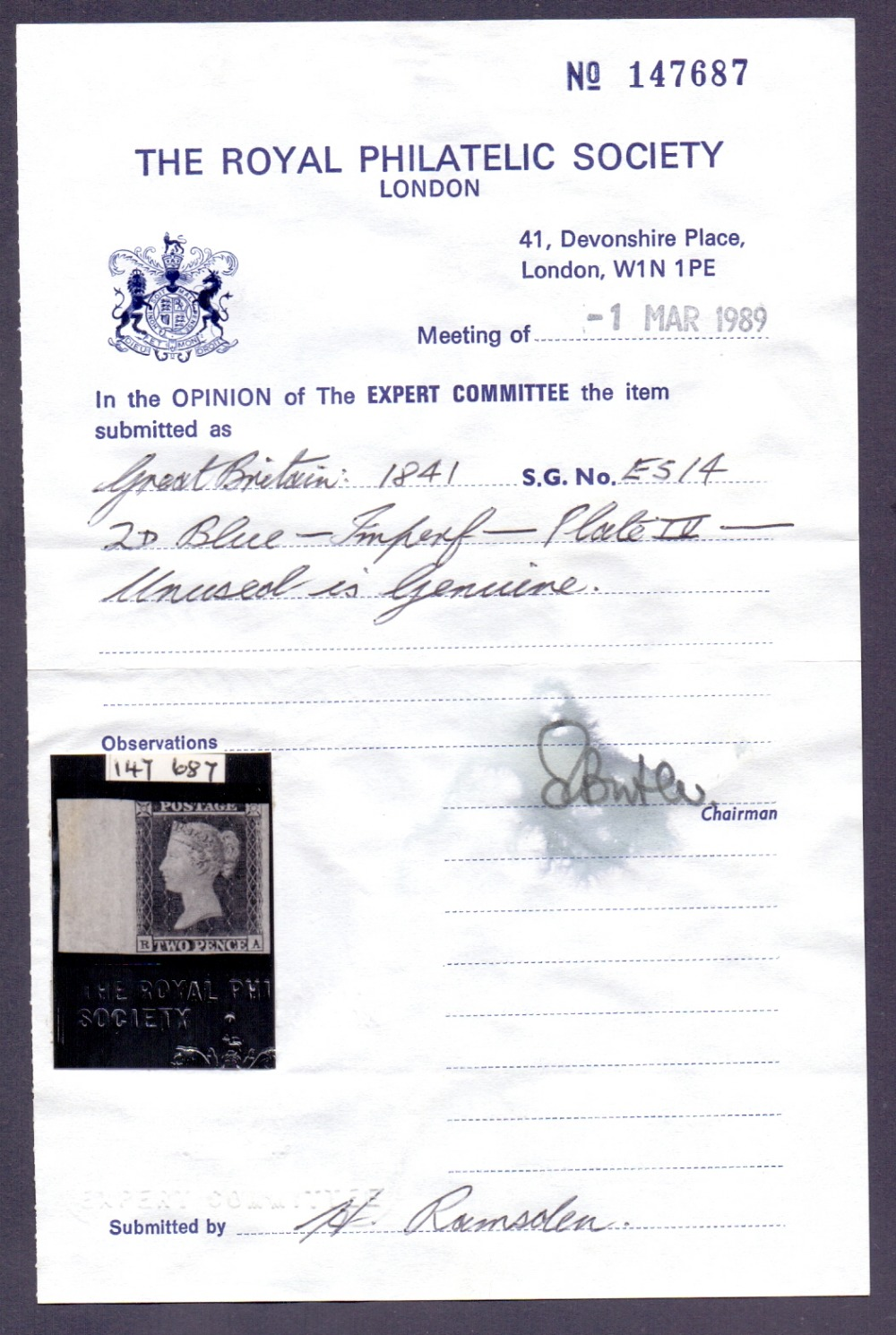 Lot 207 - GREAT BRITAIN STAMPS : 1841 2d Blue plat