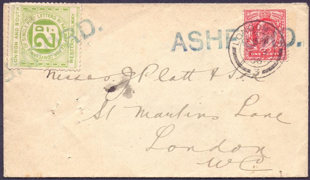 Lot 90 - POSTAL HISTORY : RAILWAY : 1906 1d Edwar