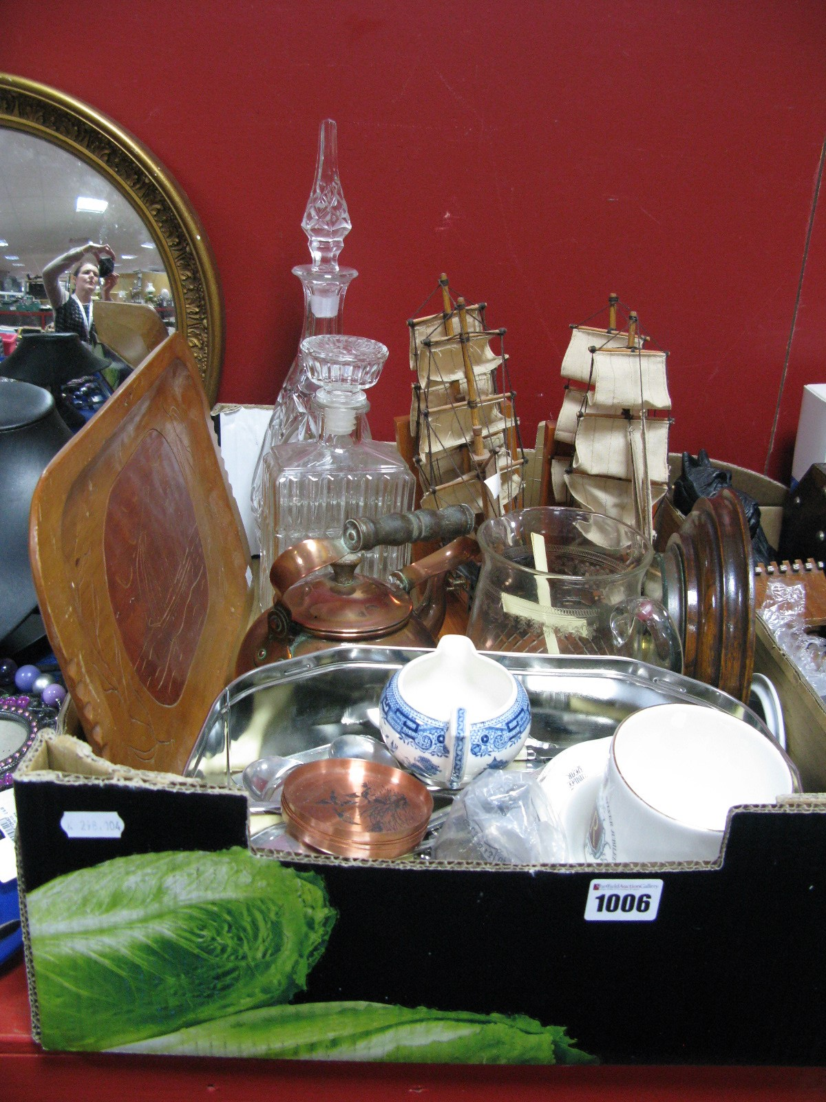 Lot 1006 - Circular oak Framed Wall Barometer, Cutlery, tray, decanters, galleon book ends, copper kettle,