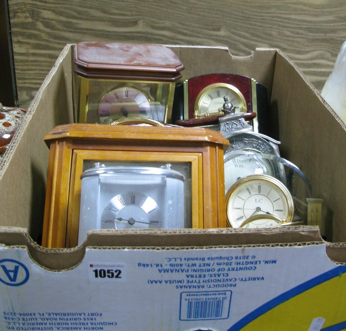 Lot 1052 - Acctim, Whitehall, WM Widdop, Seiko and Other Clocks:- One Box