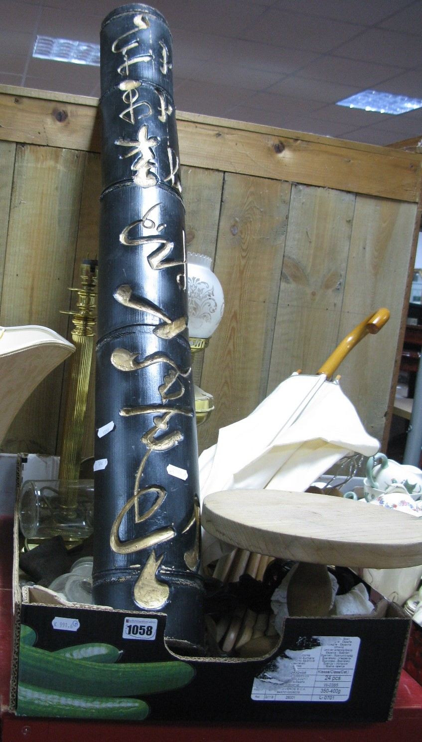 Lot 1058 - Brass table lamps, Wooden Coat Layers, umbrella, African theme mask carvings, wooden cake stand,