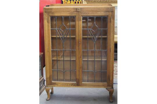 Original Oak 1920s Book Display Cabinet With Leaded Glass Doors