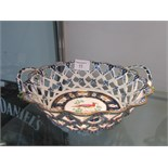 Lot 11 - 19thC Worcester style latticework oval basket painted birds (hairline cracks)